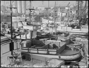 """Fishing boats, formerly operated by residents of Japanese ancestry, are tied up for the duration at Terminal Island in Los Angeles harbor. Note the """"For Sale"""" signs. Evacuees of Japanese ancestry were housed in War Relocation Authority centers for the duration."""