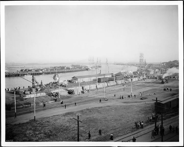 View of San Pedro Harbor (or Los Angeles Harbor), showing the arrival of the Great White Fleet, ca.1908