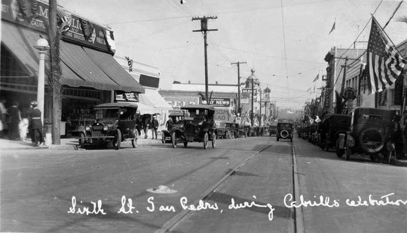 (1920) - View of 6th Street in San Pedro, during the Cabrillo Day celebration. (photo courtesy Water and Power Associates)