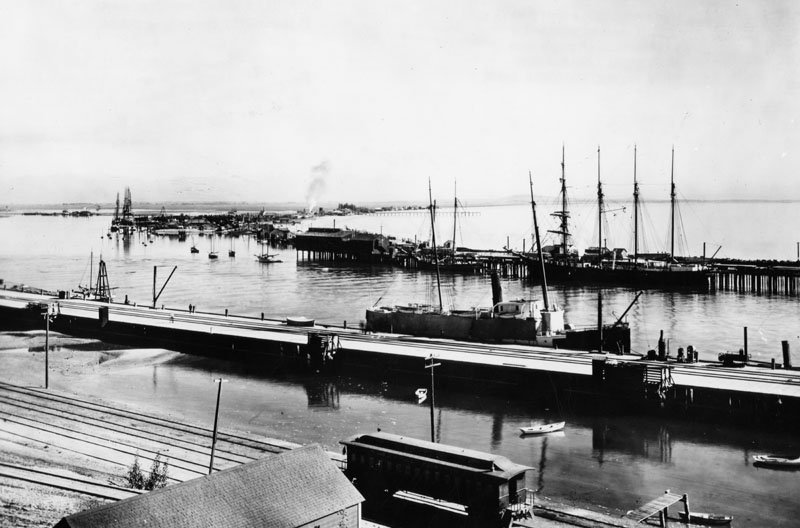 1890 View of L.A. Harbor looking from San Pedro towards Terminal Island and Long Beach - courtesy Los Angeles Public Library