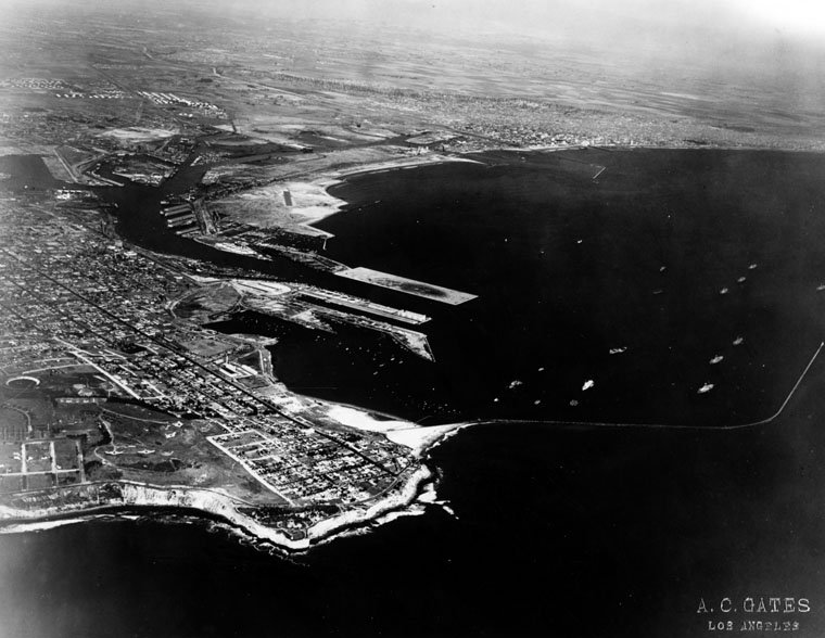 (1929) - Aerial view of San Pedro, the LA Harbor, and the coastline. (photo courtesy Water and Power Associates)