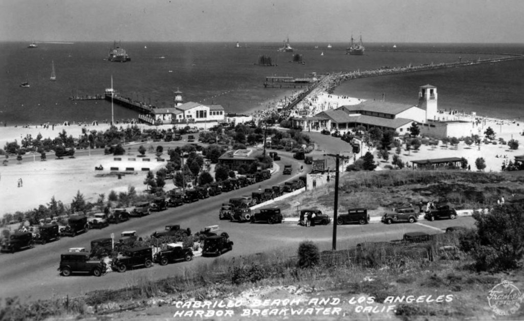 (1936) - Postcard view of Cabrillo Beach and Bath House on a busy day with the Los Angeles Harbor breakwater in the background. (photo courtesy Water and Power Associates)
