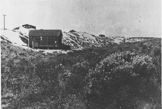 Building and sand dunes looking North from 15th St. & Valley Dr. - circa 1917; photo courtesy Manhattan Beach Historical Society